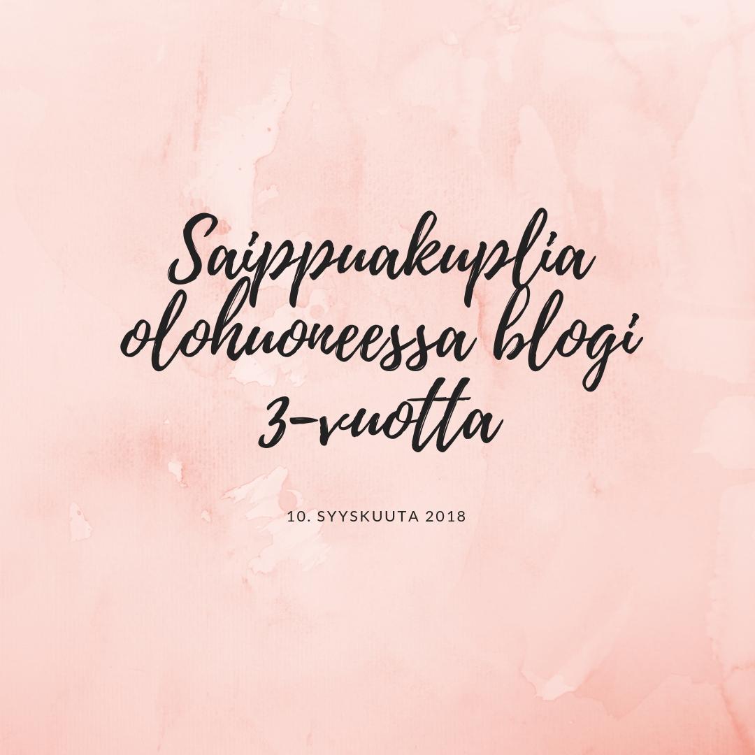 Saippuakuplia olohuoneessa blogi, Canva, Hanna Poikkilehto, Blogi, Syntymäpäivä, Blogi 3 vuotta,