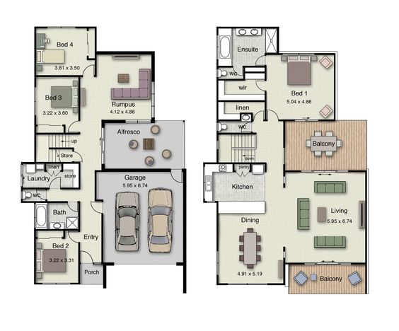 Duplex small house floor plans with 3 or 4 bedrooms for Cool house plans duplex