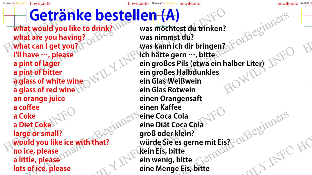 Getränke bestellen - German for all Deutsch für alle