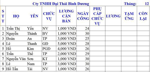 tinhoccoban.net - Bảng tính lương