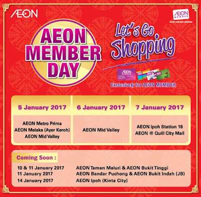 Malaysia AEON Member Day Sale Dates 2017