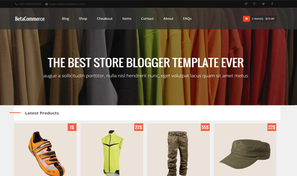 beta eCommerce blogger template