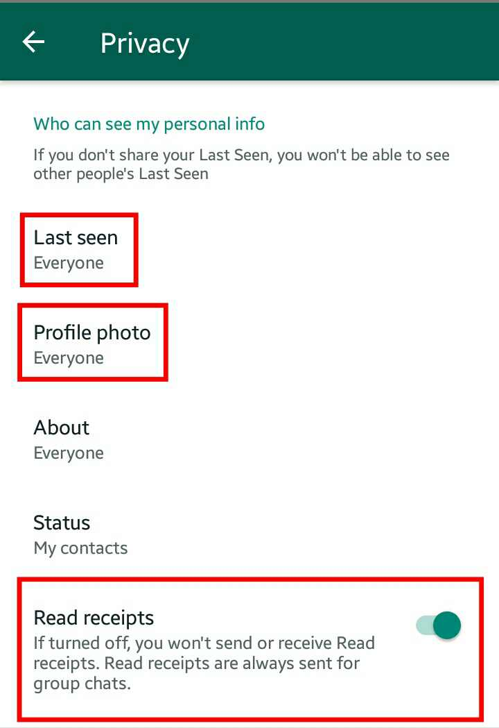 whatsapp privacy settings page