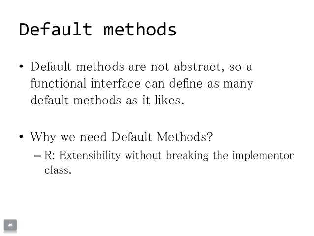 default  defender or extension method of java 8 with example