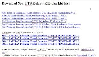 Soal PTS Kelas 4 K13 dan kisi kisi