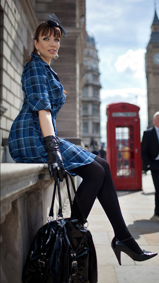 Fashion Tights Skirt Dress Heels  Retro Style-Candid -9815