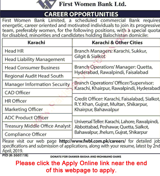 Bank job in Pakistan First women bank jobs 2019