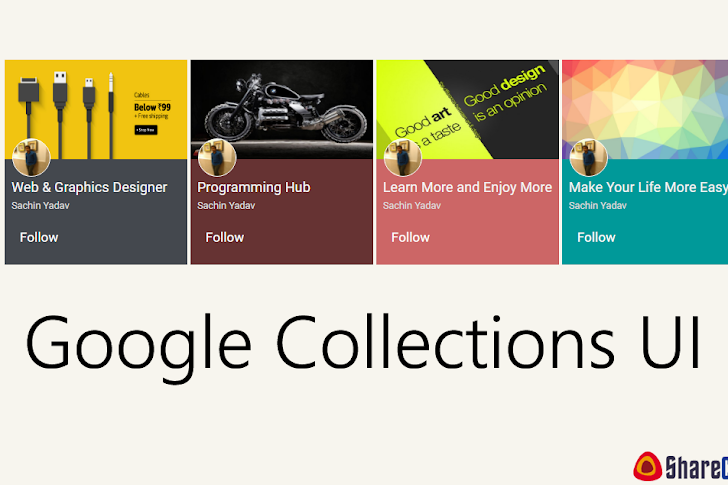 Google Collections UI Design  using CSS and HTML
