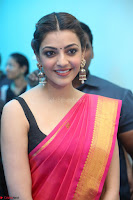 Kajal Aggarwal in Red Saree Sleeveless Black Blouse Choli at Santosham awards 2017 curtain raiser press meet 02.08.2017 017.JPG