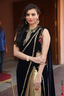 Priyanka Ramana in Beautiful Designer Black Saree At We Craft Elegance Expo Launch 058.JPG