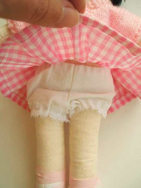 handmade calico ballet doll with gingham dress