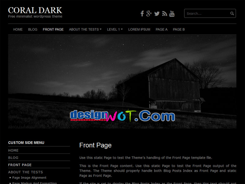Coral Dark WordPress Theme