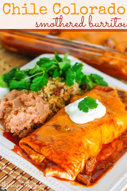 Slow Cooker Chile Colorado Smothered Burritos #burritos #slowcooker #chile #dish #dinnerrecipe #summerrecipe #summer
