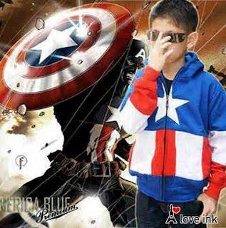 Jaket Anak Captain America Blue - Harga Saudara