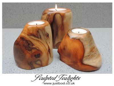Sculpted wooden tealight holders