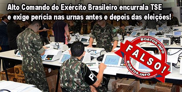 Alto Comando do Exército Brasileiro não exigiu perícia das urnas - Fake News