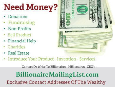 Contact Addresses of the Wealthy - BillionaireMailingList.com