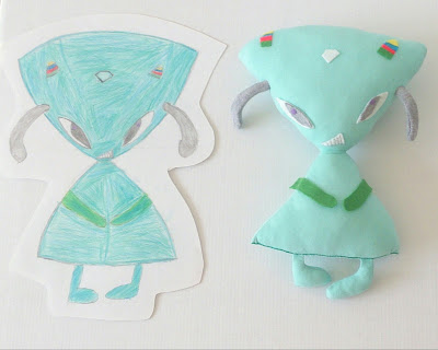Child draw, I sew toy