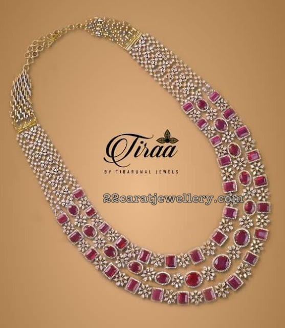 Three Layers Diamond Ruby Long Set