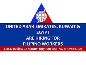 The following are jobs approved by POEA for deployment to United Arab Emirates, Egypt and Kuwait. Job applicants may contact the recruitment agency assigned to inquire for further information or to apply online for the job.  We are not affiliated to any of these recruitment agencies.   As per POEA, there should be no placement fee for domestic workers and seafarers. For jobs that are not exempted on placement fee, the placement fee should not exceed the one month equivalent of salary offered for the job. We encourage job applicant to report to POEA any violation on this rule.