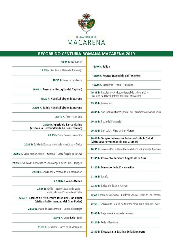 Horario e Itinerario Centuria Romana de la Hdad de La Macarena. Jueves Santo Sevilla 18 de Abril del 2019