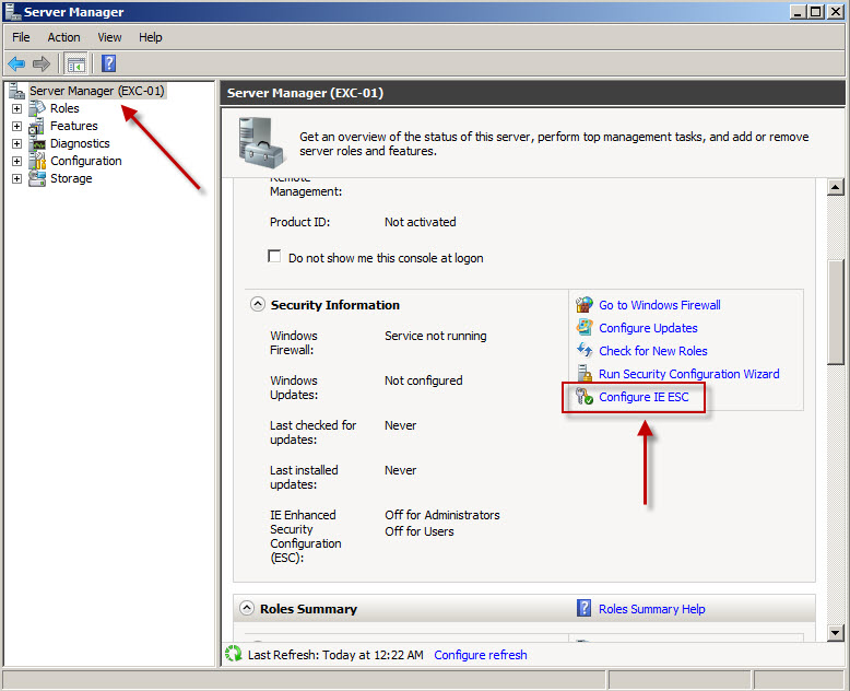 how to disable ie security windows 2008