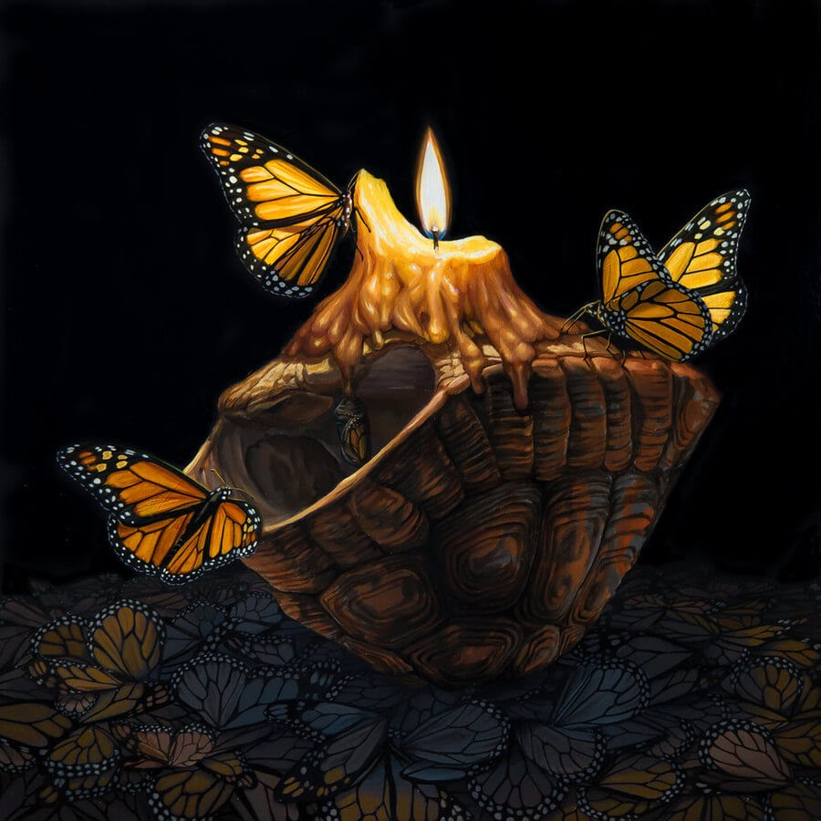 08-Candle-and-Butterflies-Jon-Ching-Animal-Oil-Paintings-www-designstack-co