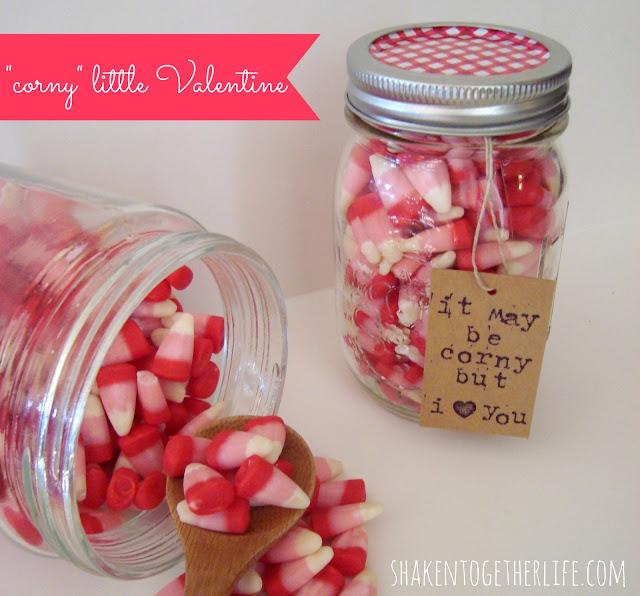 adorable Valentine candy corn mason jar gift at shaken together