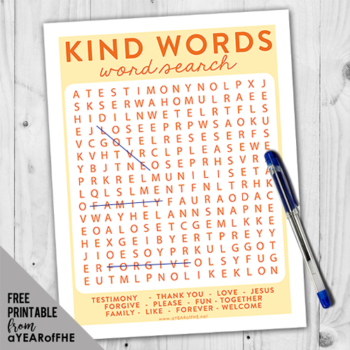 A Year of FHE // A free download of a word search about positive and uplifting words.  This is part of an entire Family Home Evening about using clean language. #fhe #lds #language