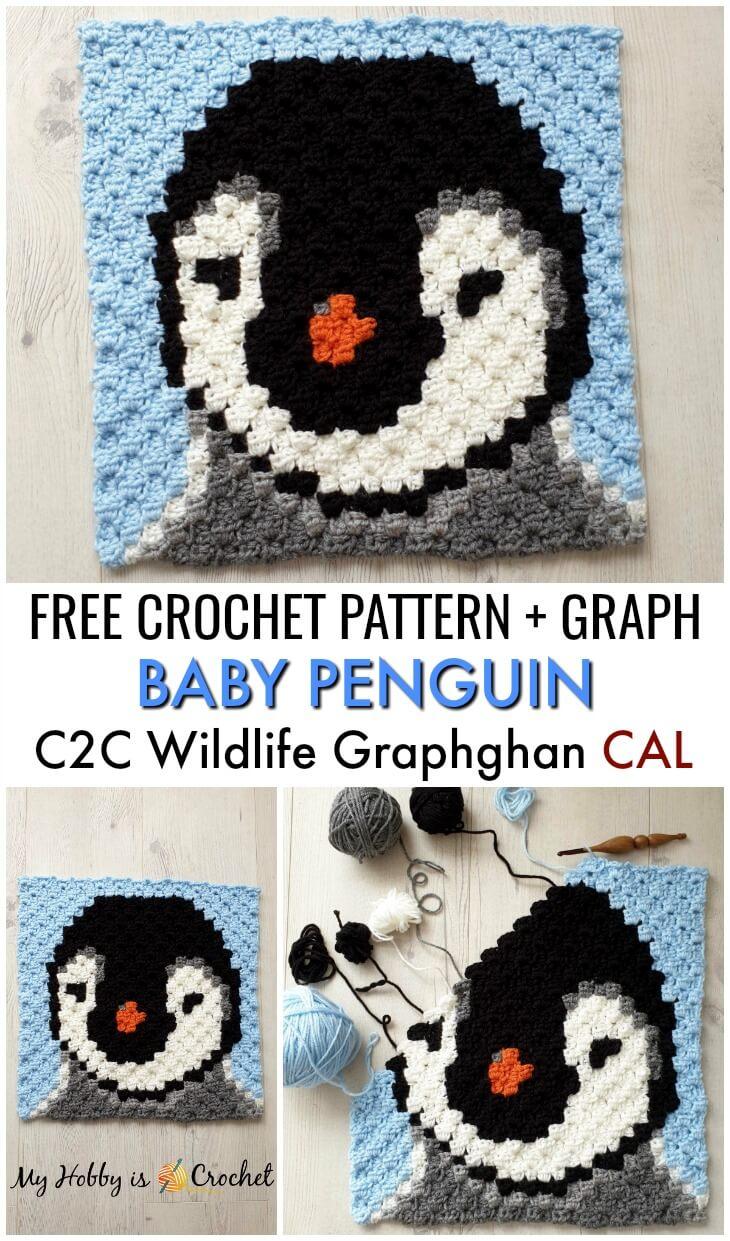 Baby Penguin C2C Square - Free Crochet Pattern