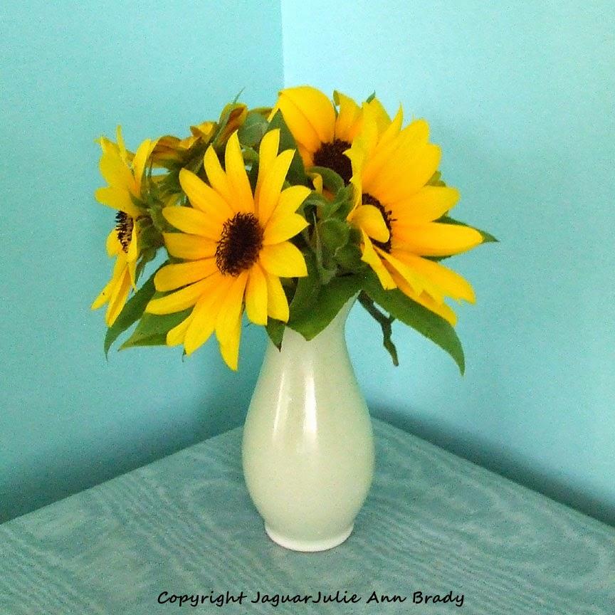 Sunflowers in a Ceramic Bud Vase