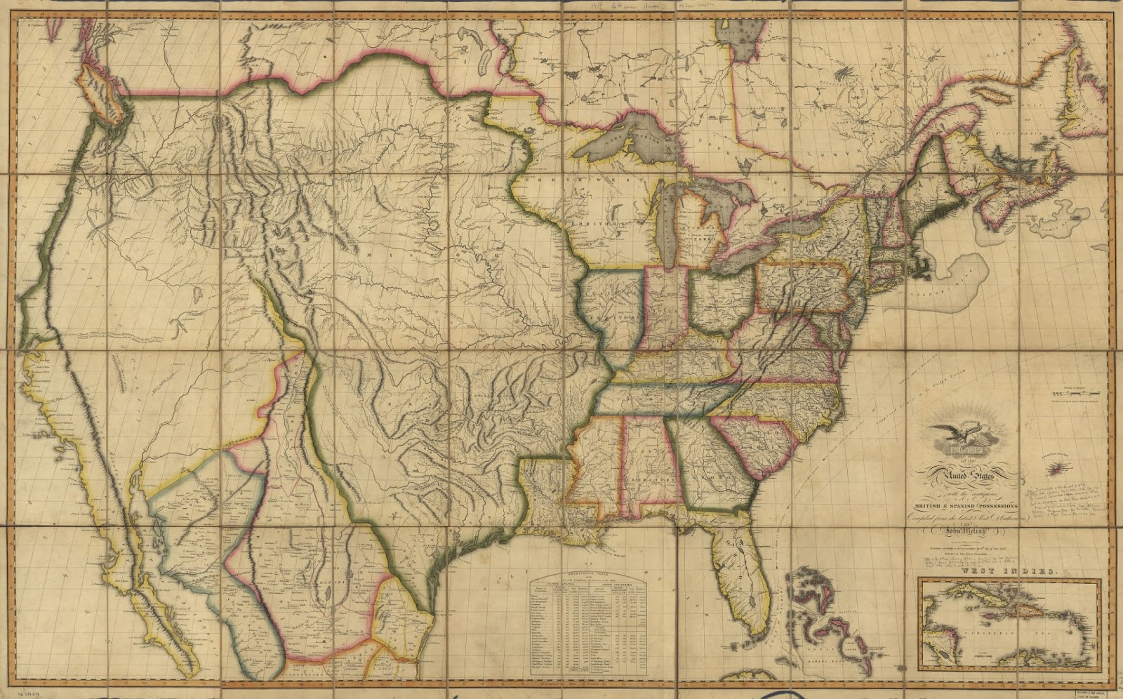 Map of the United States of America: with the contiguous British and Spanish possessions (1816)