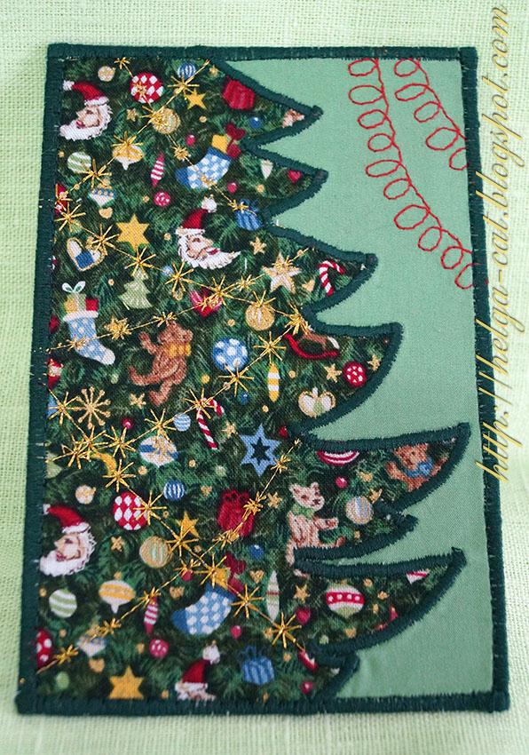 Для, текстильная открытка на новый год
