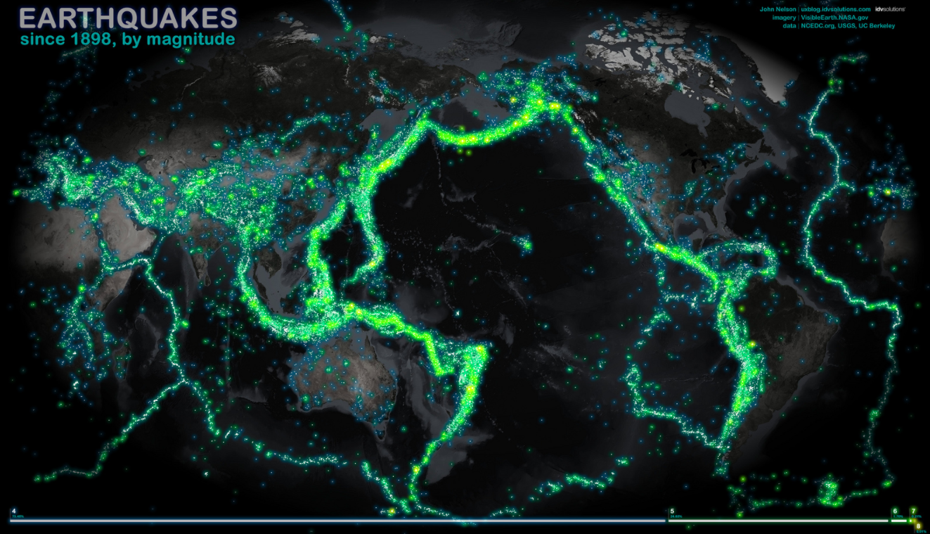 connecting geological ocean features to earthquakes and volcanoes