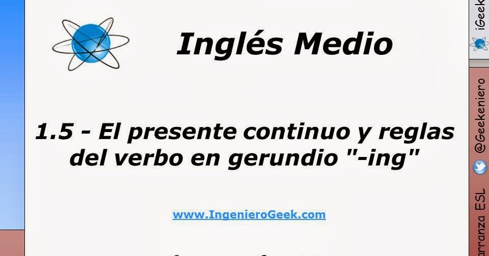 Igeek 1 5 El Presente Continuo Y Reglas Del Verbo En