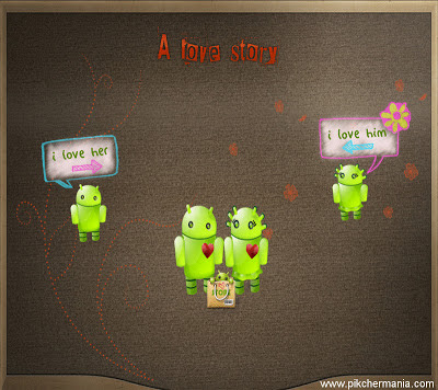 cute android love story wallpaper