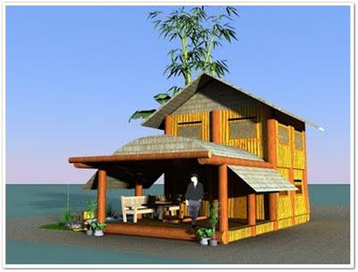 rumah bambu minimalis unik dan modern
