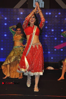 Bollywood Actress Model Sunny Leone Dance Performance in Red Half Saree at Rogue Audio Launch 13 March 2017  0159.jpg