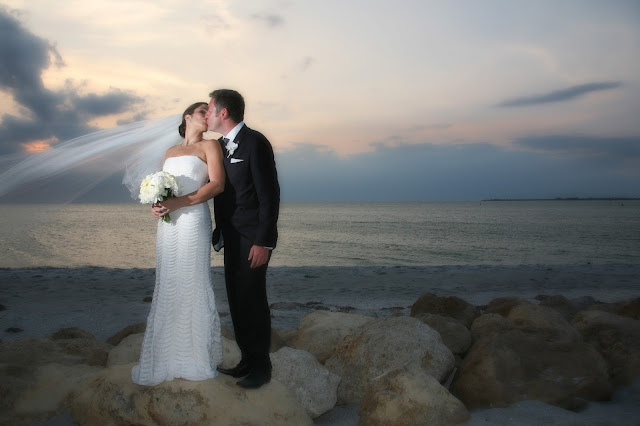 Captiva Island wedding bride and groom at sunset