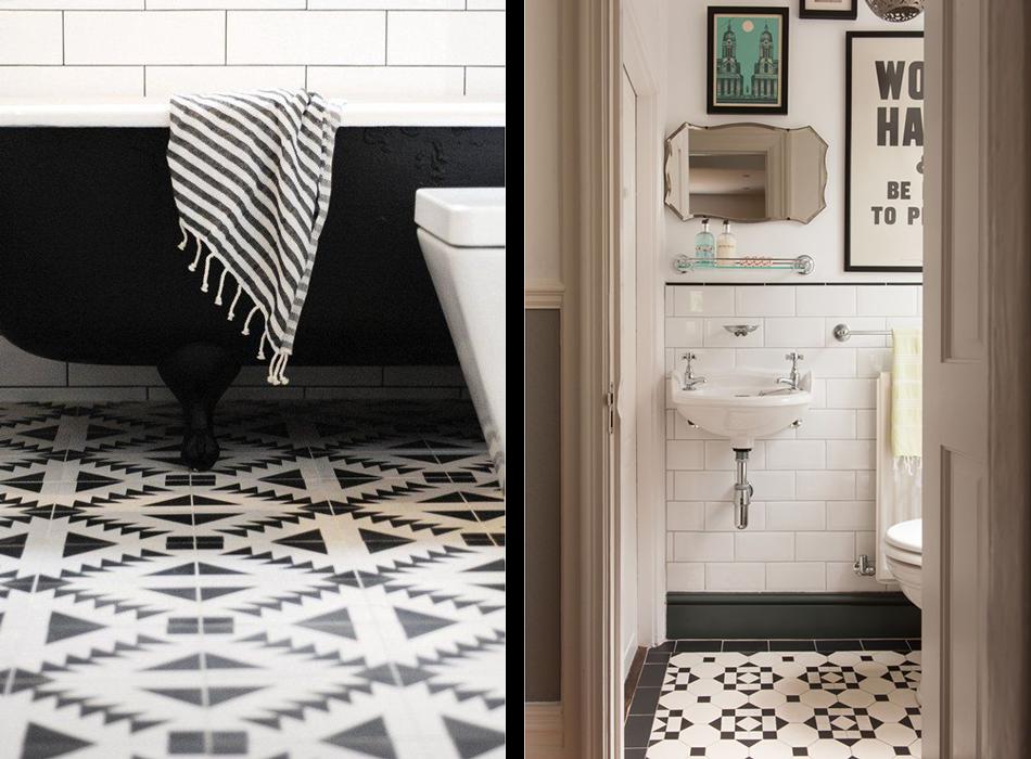 deco salle de bain carrelage noir et blanc. Black Bedroom Furniture Sets. Home Design Ideas