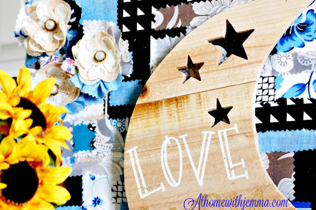 wooden moon, burlap and lace bow, fabric, DIY