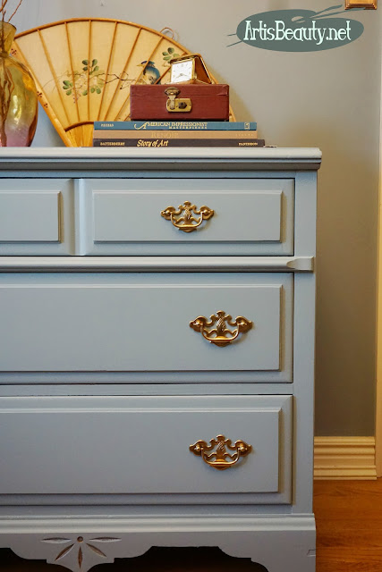 regency style eclectic painted dresser makeover using general finishes persian blue milk paint diy blogger before and after boho chic