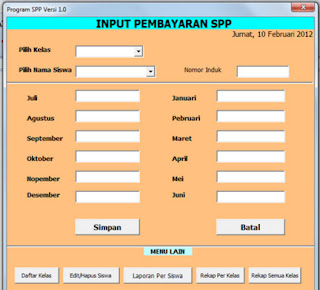 Aplikasi SPP dengan Format Microsoft Excel