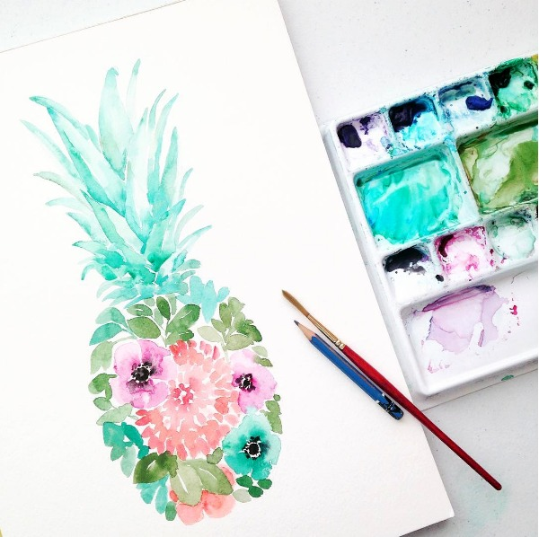 Watercolor Floral Pineapple by Elise Engh