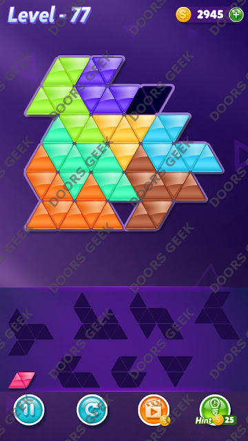 Block! Triangle Puzzle 8 Mania Level 77 Solution, Cheats, Walkthrough for Android, iPhone, iPad and iPod