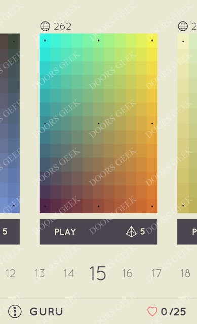 I Love Hue Guru Level 15 Solution, Cheats, Walkthrough