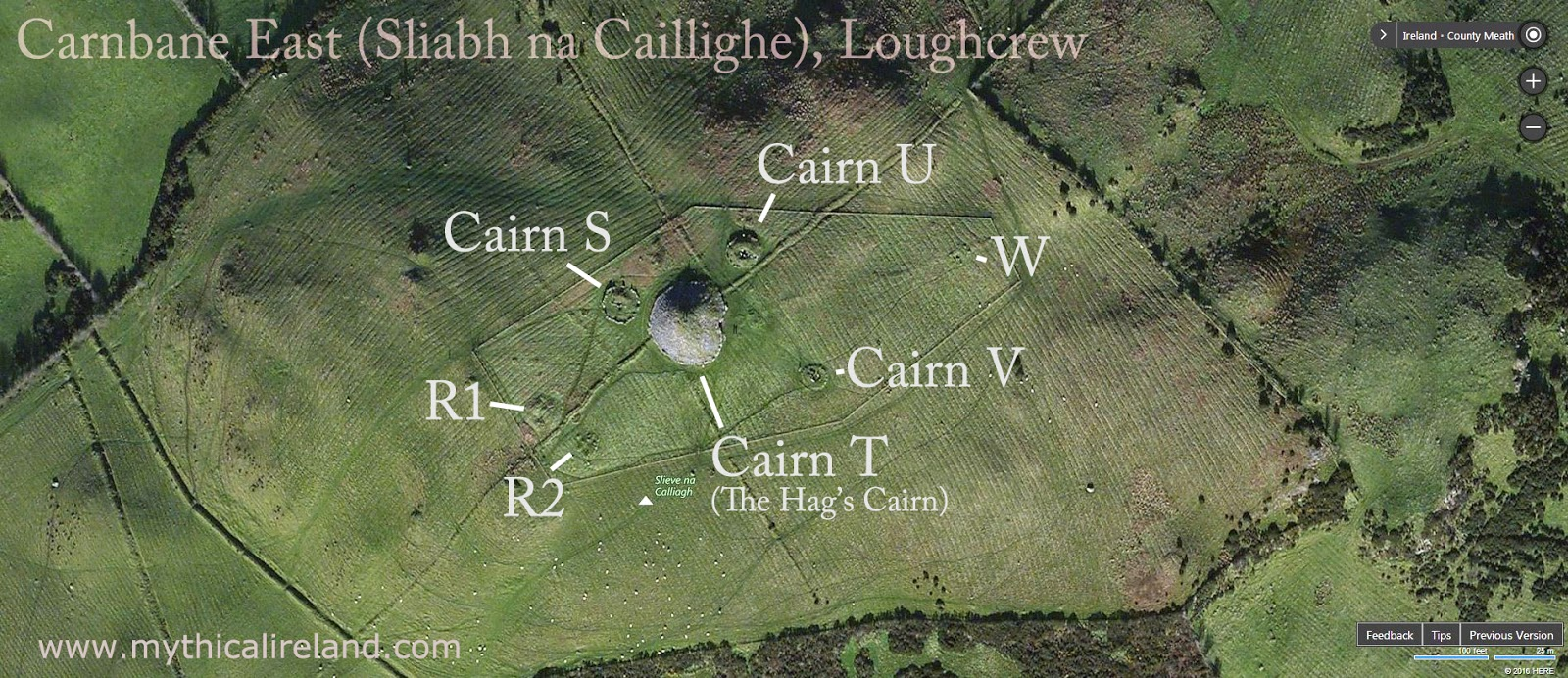 Mythical Ireland Blog Maps Of The Cairns At Sliabh Na Caillighe