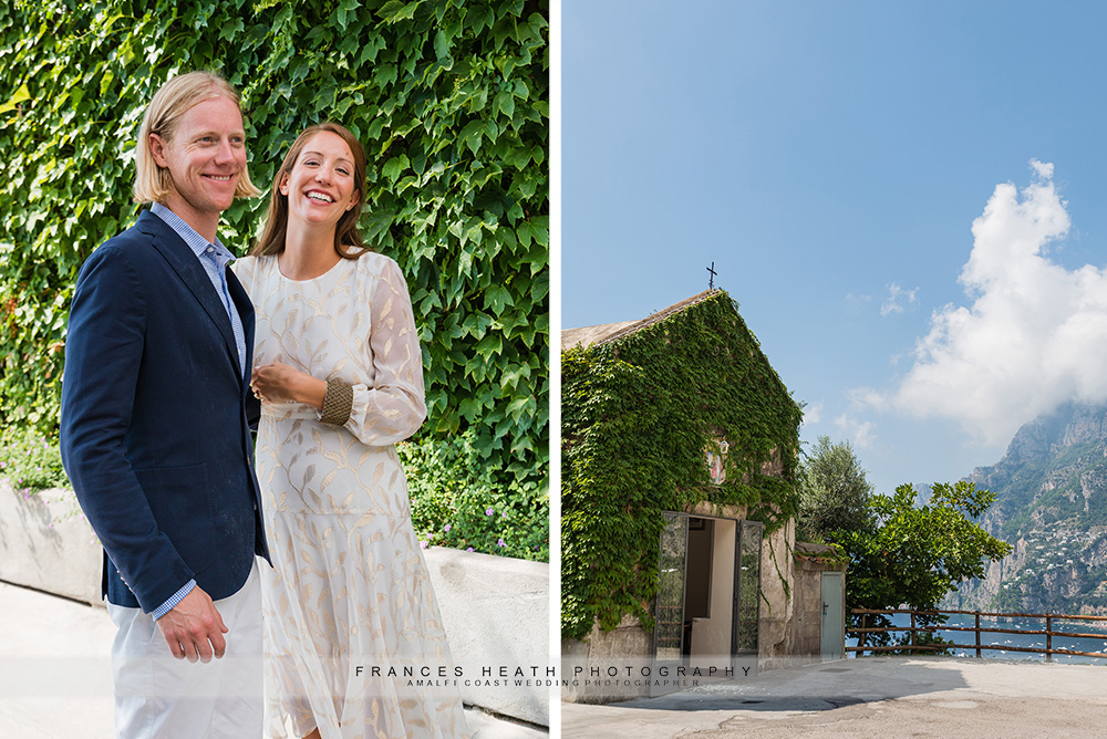 Bride and groom outside San Pietro church
