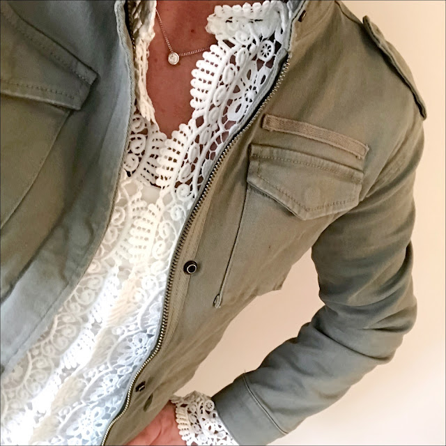 My midlife fashion, hush military jacket, zara lace jacket, marks and spencer leather ponte skinny leggings, golden goose super star leather low top trainers