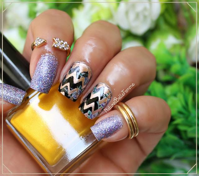 Chevron floral nails